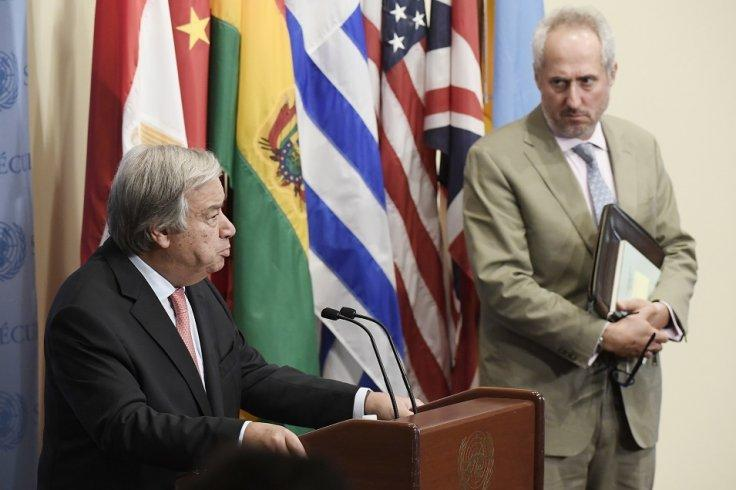 United Nations Secretary-General Antonio Guterres, left, with his spokesperson, Stephane Dujarric