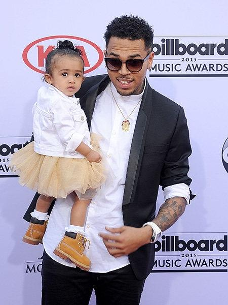 Singer Chris Brown with her daughter Royalty Brown