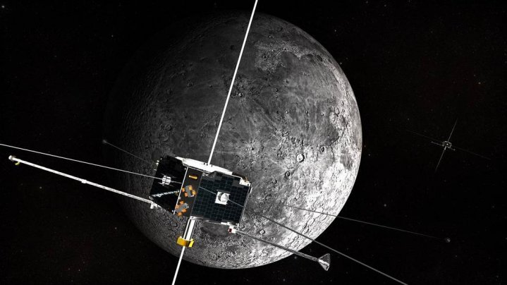 An artist's concept of the ARTEMIS spacecraft in orbit around the Moon