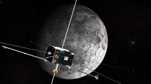 An artist's concept of the ARTEMIS spacecraft in orbit around the Moon