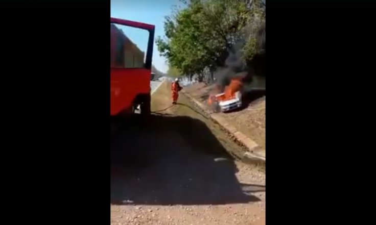 car catches fire in Malaysia
