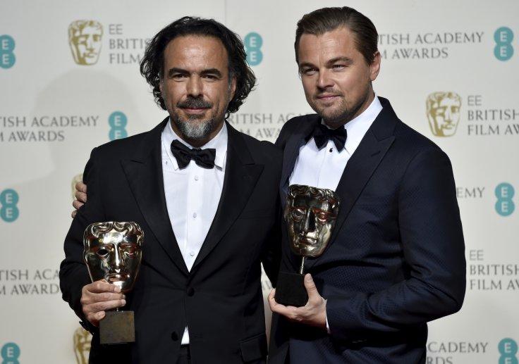 Best director Alejandro Inarritu and best leading actor Leonardo DiCaprio at bafta awards