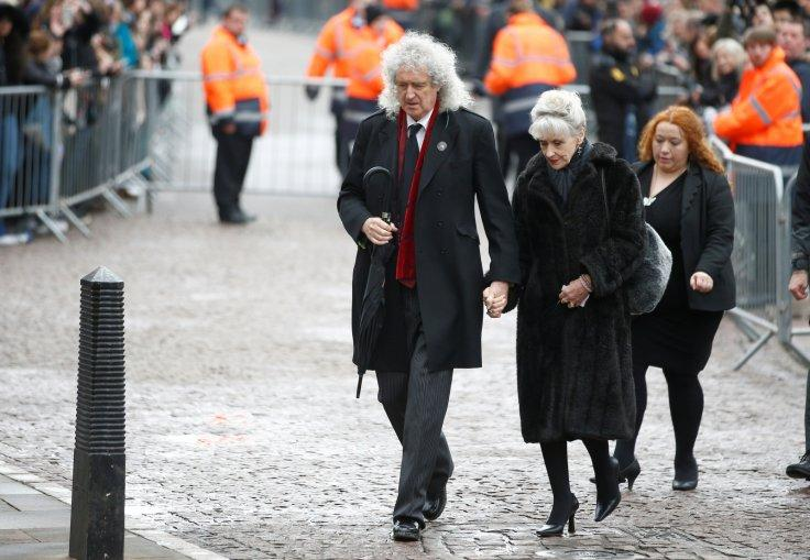 Musician Brian May and actor Anita Dobson arrive at Great St Marys Church, where the funeral of theoretical physicist Prof Stephen Hawking is being held, in Cambridge, Britain, March 31, 2018