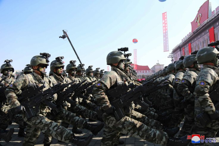 Soldiers march during a grand military parade celebrating the 70th founding anniversary of the Korean People's Army at the Kim Il Sung Square in Pyongyang