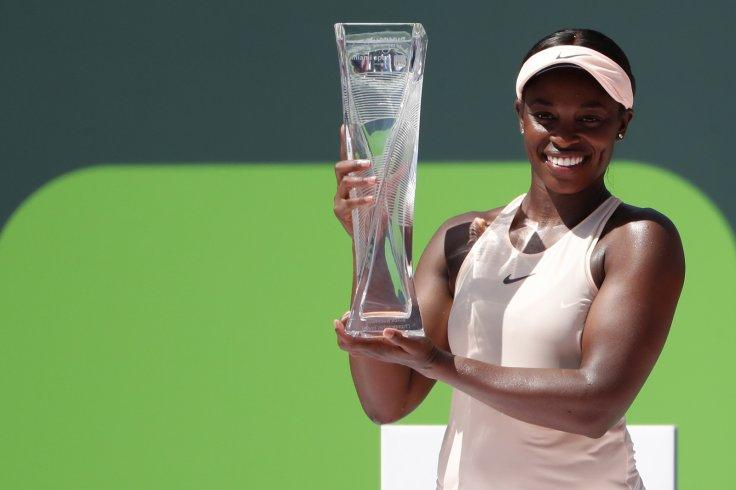 Sloane Stephens of the United States poses with the Butch Buchholz championship trophy after her match against Jelena Ostapenko of Latvia (not pictured) during the women's singles final of the Miami Open at Tennis Center at Crandon Park. Stephens won 7-6(