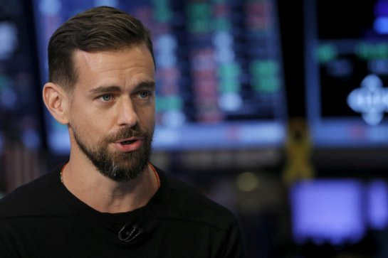 Jack Dorsey, CEO of Square and CEO of Twitter, speaks during an interview