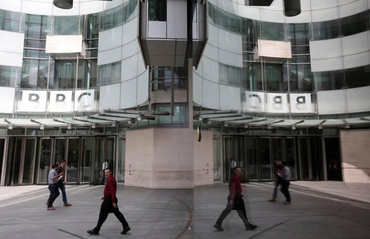 The main entrance to the BBC headquarters and studios in Portland Place, London, Britain,