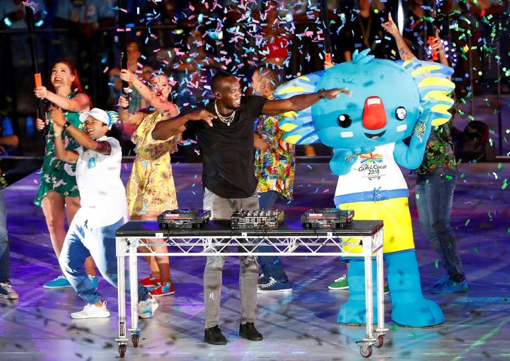 Gold Coast 2018 Commonwealth Games - Closing Ceremony - Carrara Stadium - Gold Coast, Australia - April 15, 2018. Former Jamaican sprinter Usain Bolt plays the DJ desks during the closing ceremony.