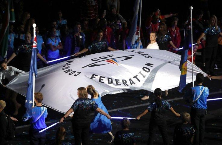 Gold Coast 2018 Commonwealth Games - Closing ceremony - Carrara Stadium - Gold Coast, Australia - April 15, 2018 - The Commonwealth Games flag is seen during a closing ceremony.