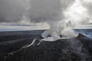 Smoke rises from the Pu'u O'o vent on the Kilauea Volcano October 29, 2014 on the Big Island of Hawaii.