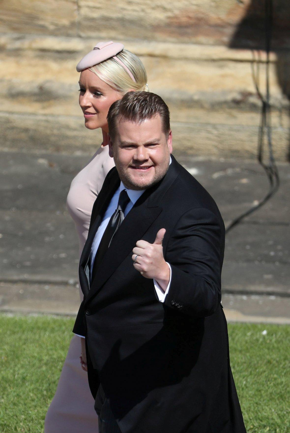 James Corden and his wife Julia Carey arrive at St George's Chapel at Windsor Castle