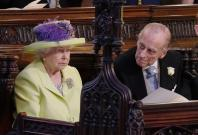 Queen Elizabeth II and Prince Phillip during the wedding service for Prince Harry and Meghan Markle at St George's Chapel,