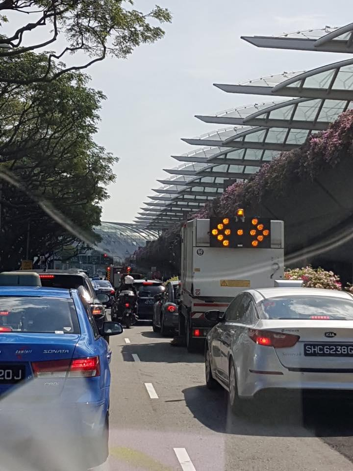 Changi Airport traffic jam