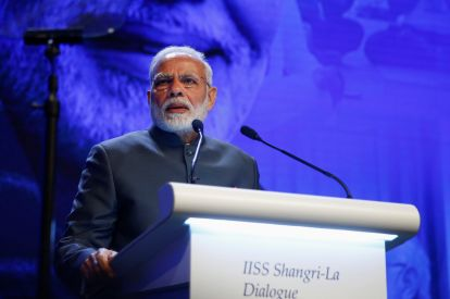 India's Prime Minister Narendra Modi delivers the keynote address at the IISS Shangri-la Dialogue