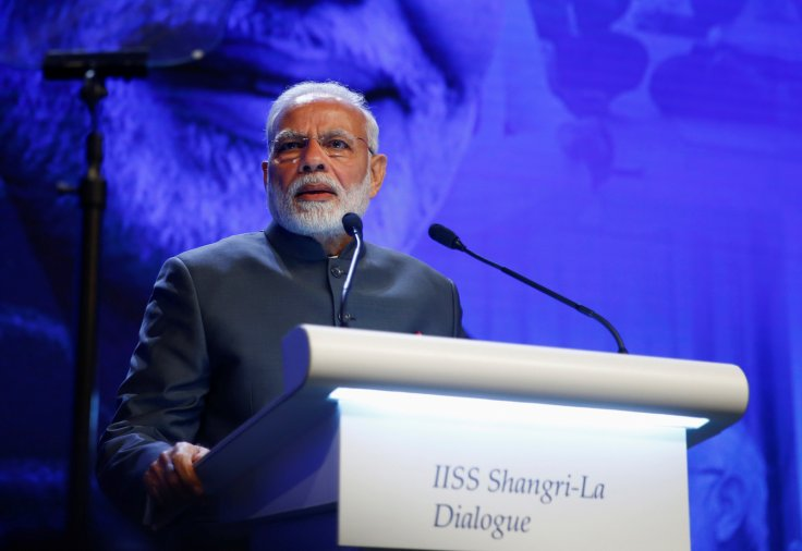 India's Prime Minister Narendra Modi delivers the keynote address at the IISS Shangri-la Dialogue