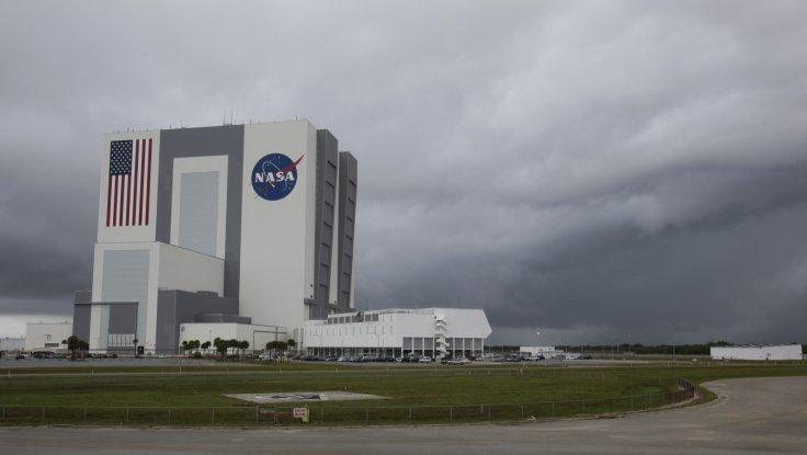 NASA's huge Vehicle Assembly Building is shown under overcast skies after mission managers scrubbed two landing attempts for the space shuttle Atlantis for the second day in a row at the Kennedy Space Center in Cape Canaveral,
