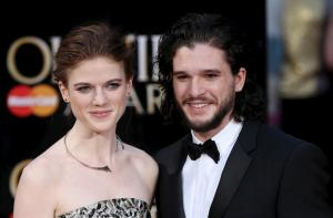 Actors Kit Harington and Rose Leslie