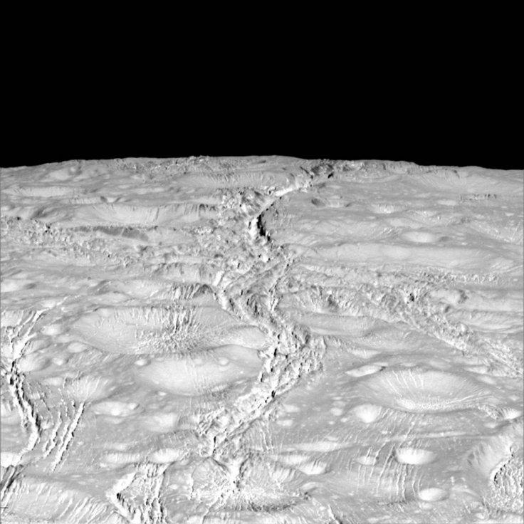 NASA's Cassini spacecraft zoomed by Saturn's icy moon Enceladus on Oct. 14, 2015, capturing this stunning image of the moon's north pole. A companion view from the wide-angle camera (PIA20010) shows a zoomed out view of the same region for context.