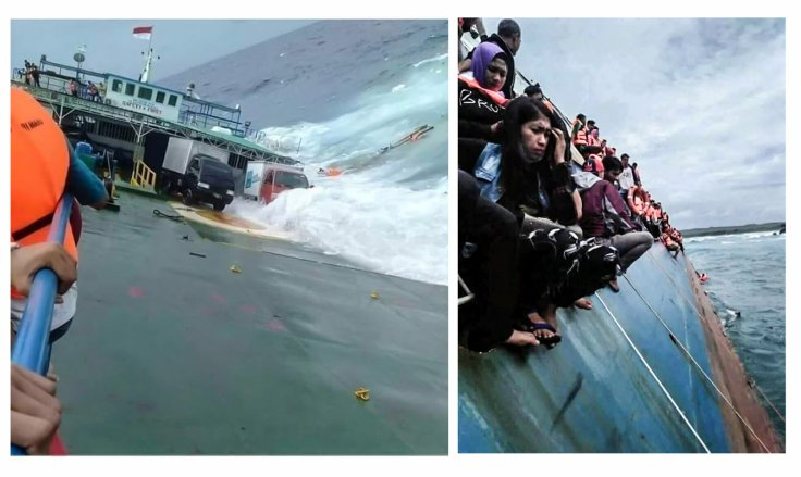 A combination picture shows survivors as KM Lestari Maju boat sinks in the waters of Selayar island, South Sulawesi province, Indonesia, July 3, 2018. Pictures taken July 3, 2018.