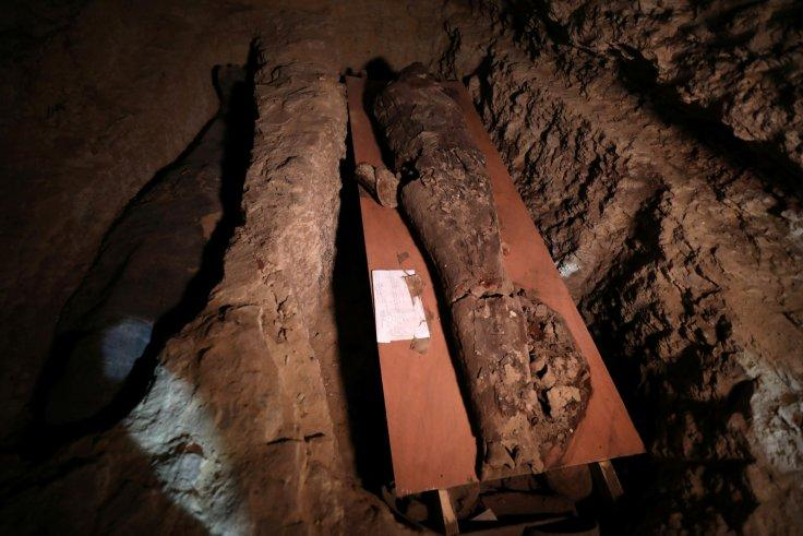 A number of mummies are seen inside the newly discovered burial site near Egypt's Saqqara necropolis, in Giza Egypt July 14, 2018.