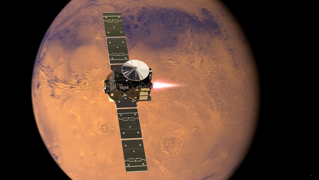Artist's impression visualising the ExoMars 2016 Trace Gas Orbiter (TGO), with its thrusters firing, beginning its entry into Mars orbit on 19 October 2016.