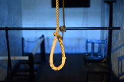 hanging from a rope