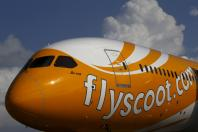 A Scoot Boeing 787-9 Dreamliner is displayed at the Singapore Airshow at Changi Exhibition Center February 16, 2016.