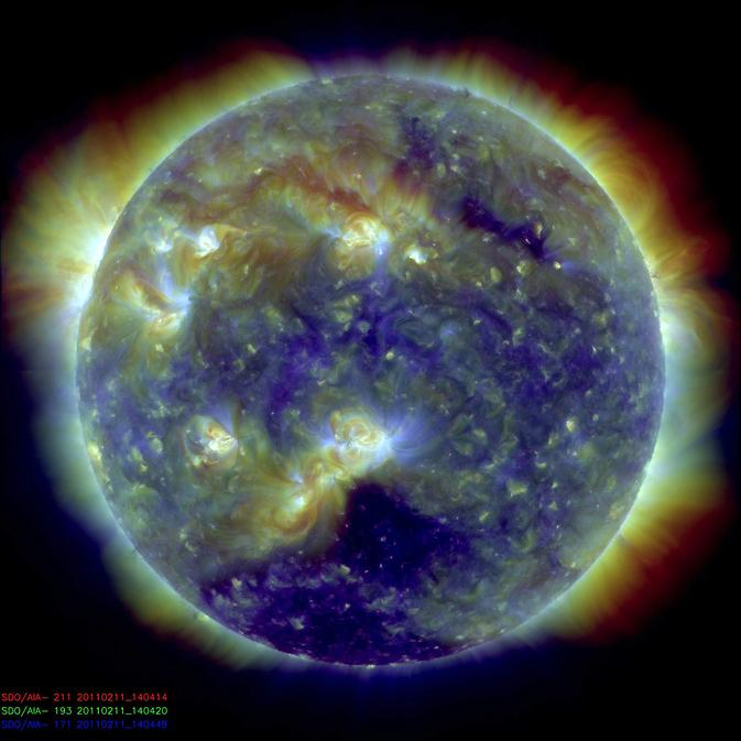 A composite SDO image from Feb. 11, 2011, exactly one year after its launch. The image combines three wavelengths of extreme ultraviolet light.