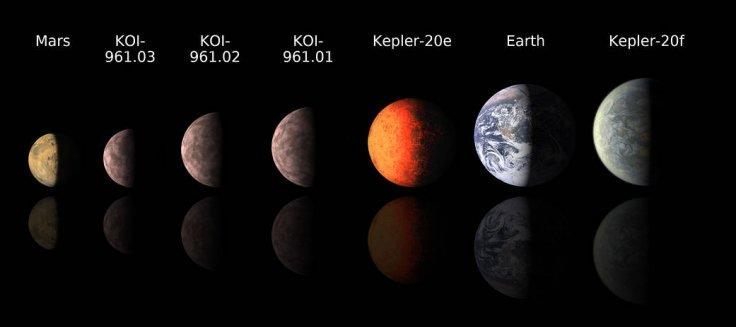 This chart compares the smallest known exoplanets, or planets orbiting outside the solar system, to our own planets Mars and Earth.