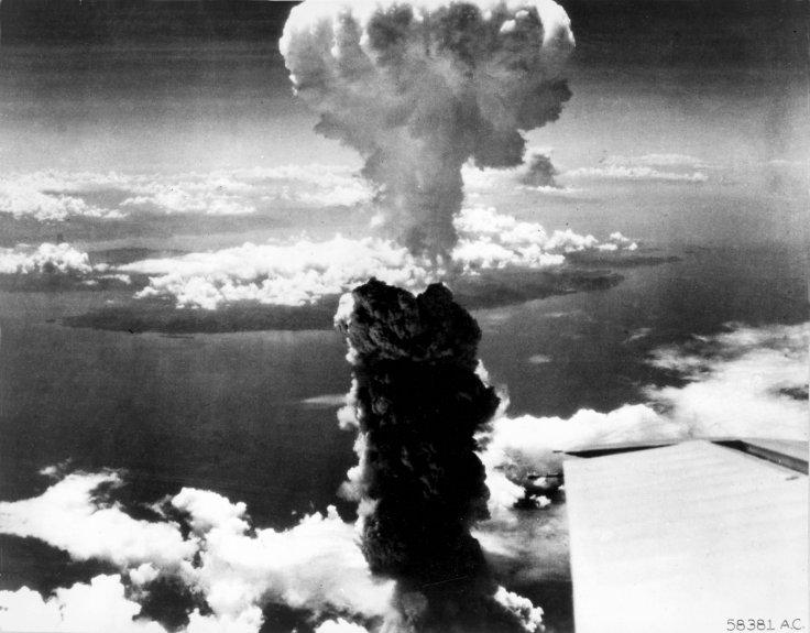 Smoke rises more than 60,000 feet into the air over Nagasaki from an atomic bomb, the second ever used in warfare, dropped from a B-29 Superfortress bomber in this U.S. Air Force handout photo dated August 9, 1945.