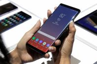The new Samsung Galaxy Note 9 is seen during a product launch event in Brooklyn, New York, U.S., August 9, 2018