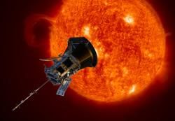 Artist rendering of NASA's Parker Solar Probe observing the sun.