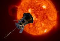 Artist rendering of NASA's Parker Solar Probe observing the sun.