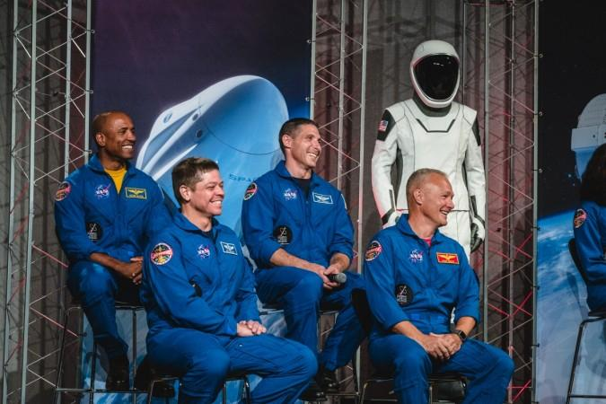 Top row, left to right: NASA Astronauts Victor Glover and Mike Hopkins; bottom row, left to right: NASA Astronauts Bob Behnken and Doug Hurley (SpaceX handout)