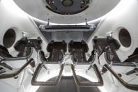 The view inside a Crew Dragon spacecraft simulator being used to train NASA astronauts is shown at SpaceX headquarters in Hawthorne, California, U.S. August 13, 2018.