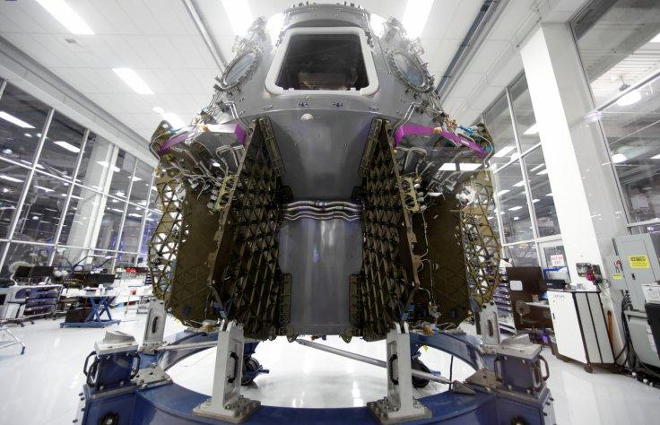 The SpaceX space craft Crew Dragon is shown being built inside a cleanroom at SpaceX headquarters in Hawthorne, California, U.S. August 13, 2018.