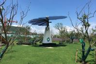 """A """"solar flower"""" power plant installed by solar manufacturer GCL is seen at the Jurong eco-town in Jiangsu province, China, August 14, 2018. Picture taken August 14, 2018"""