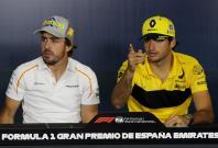 McLaren's Fernando Alonso and Renault's Carlos Sainz at Circuit de Barcelona-Catalunya, Barcelona, Spain - May 10, 2018.