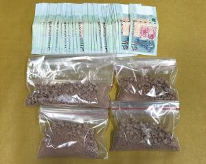 Heroin and cash seized in CNB operation on 15 August 2018.