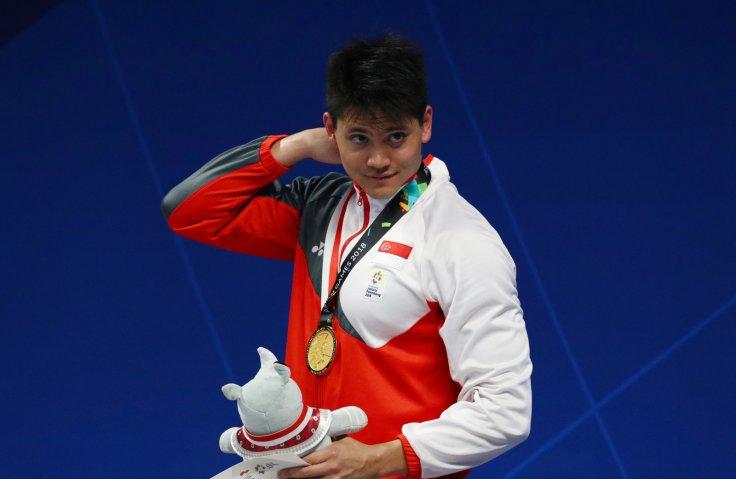 2018 Asian Games - Men's 50m Butterfly - GBK Aquatic Center, Jakarta, Indonesia - August 23, 2018. Gold Medalist Joseph Isaac Schooling of Singapore.
