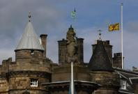"A Lion Rampant flag, the Royal Standard of Scotland, flies at half mast after the death of former British prime minister Margaret Thatcher, over the Palace of Holyroodhouse in Edinburgh, Scotland April 8, 2013. Thatcher, the ""Iron Lady"" who dominated Brit"