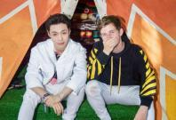 EXO band member Lay and music producer Alan Walker, at the Lollapalooza music festival, Chicago, on August 3.