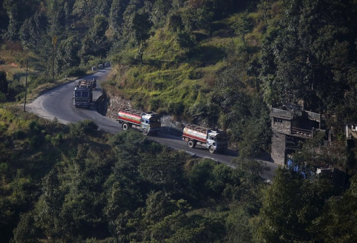 Nepalese petrol tankers heading to the Chinese border of Kerung are pictured on a road on the outskirts of Kathmandu, Nepal November 2, 2015.