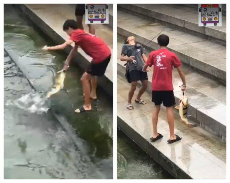 The two boys who were filmed fishing at Merlion Park