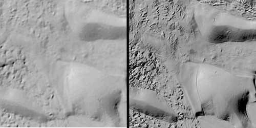 Comparison between prior available surface imaging (left) and REMA (right) shows dramatically improved detail