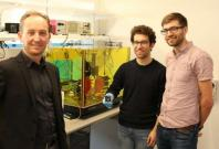 Researchers Dr Alberto Peruzzo (left), Mr Jean-Luc Tambasco and Dr Robert Chapman.