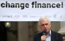 The Labour Party's shadow Chancellor of the Exchequer, John McDonnell, delivers a speech outside the Royal Exchange, opposite the Bank of England in the City in London, Britain September 15, 2018. REUTERS/Hannah McKay