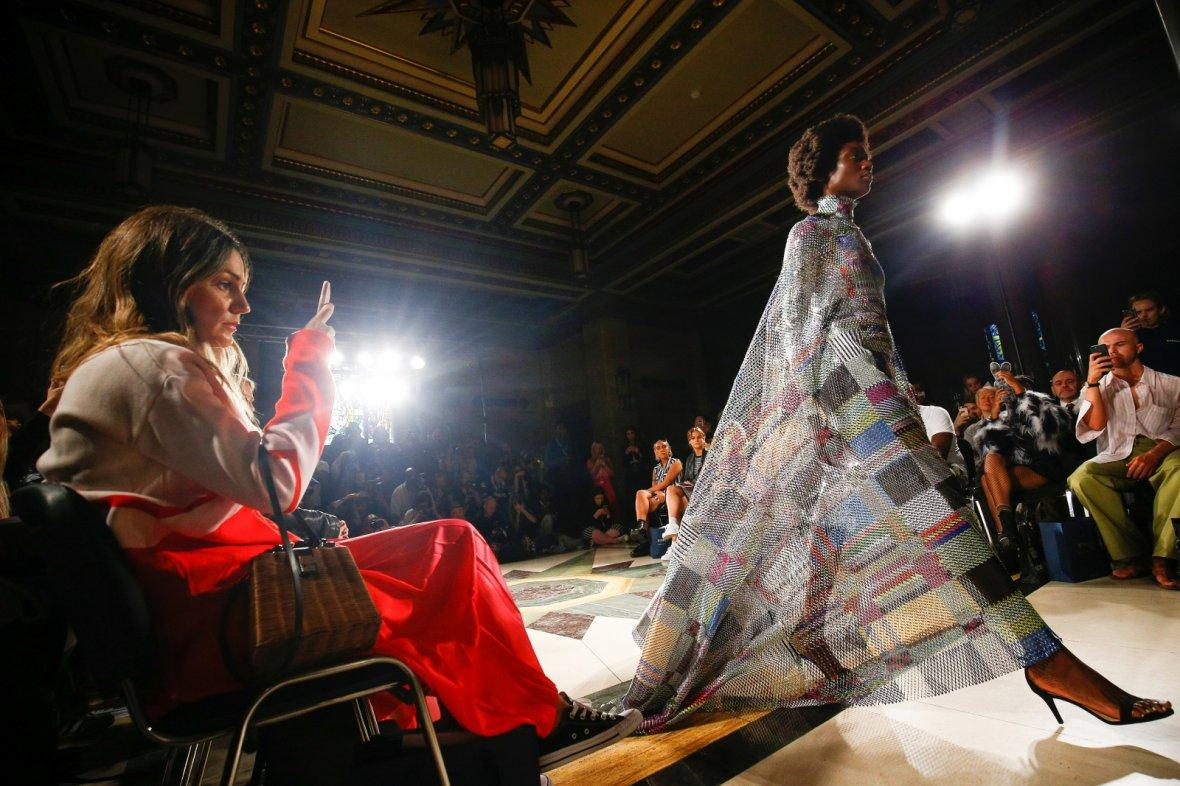 A model presents a creation during Swedish School of Textiles catwalk show at the Freemasons Hall during London Fashion Week Women's in London, Britain September 14, 2018.