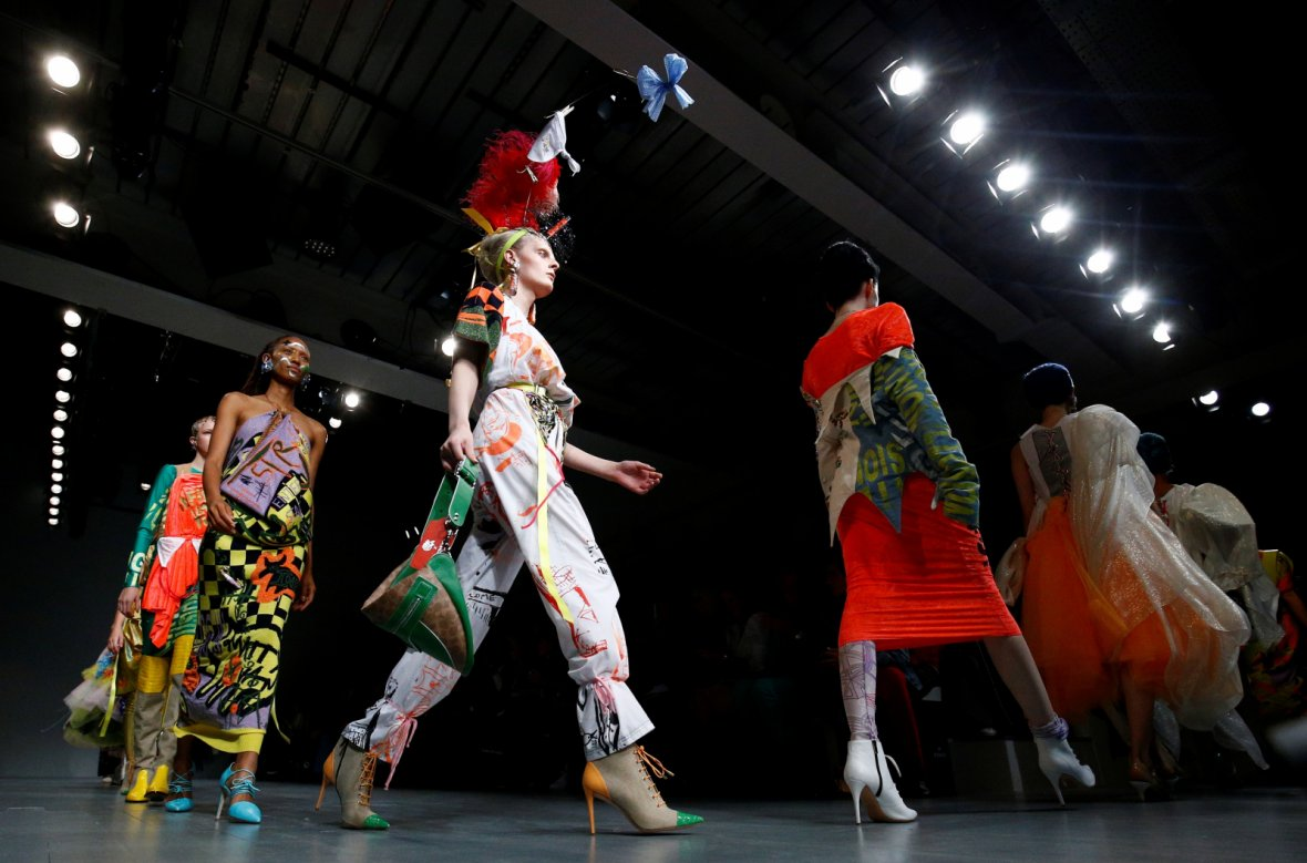 Models present creations at the Matty Bovan catwalk show during London Fashion Week Women's in London, Britain September 14, 2018
