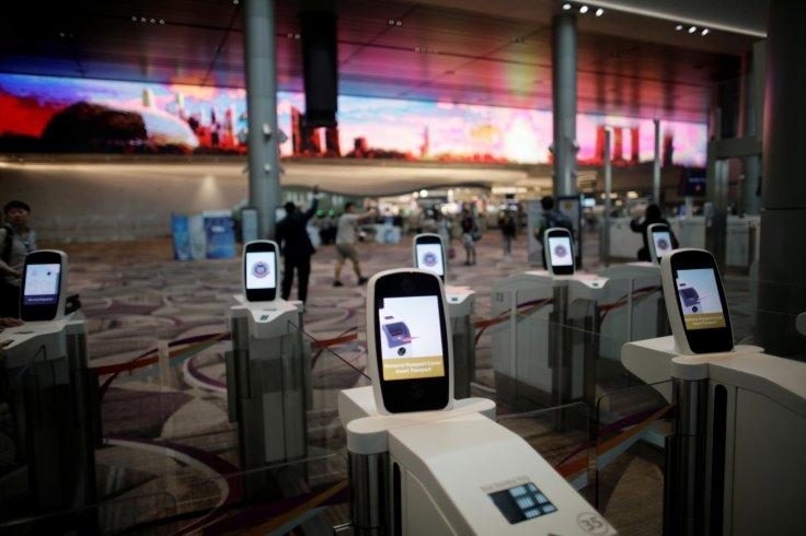 Automated immigration control gates are seen at Changi airport's Terminal 4 in Singapore April 30, 2018.